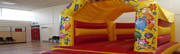Image of a bouncy castle setup in the main hall